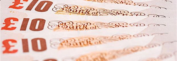 BB664D fan of mint UK ten pound bank notes